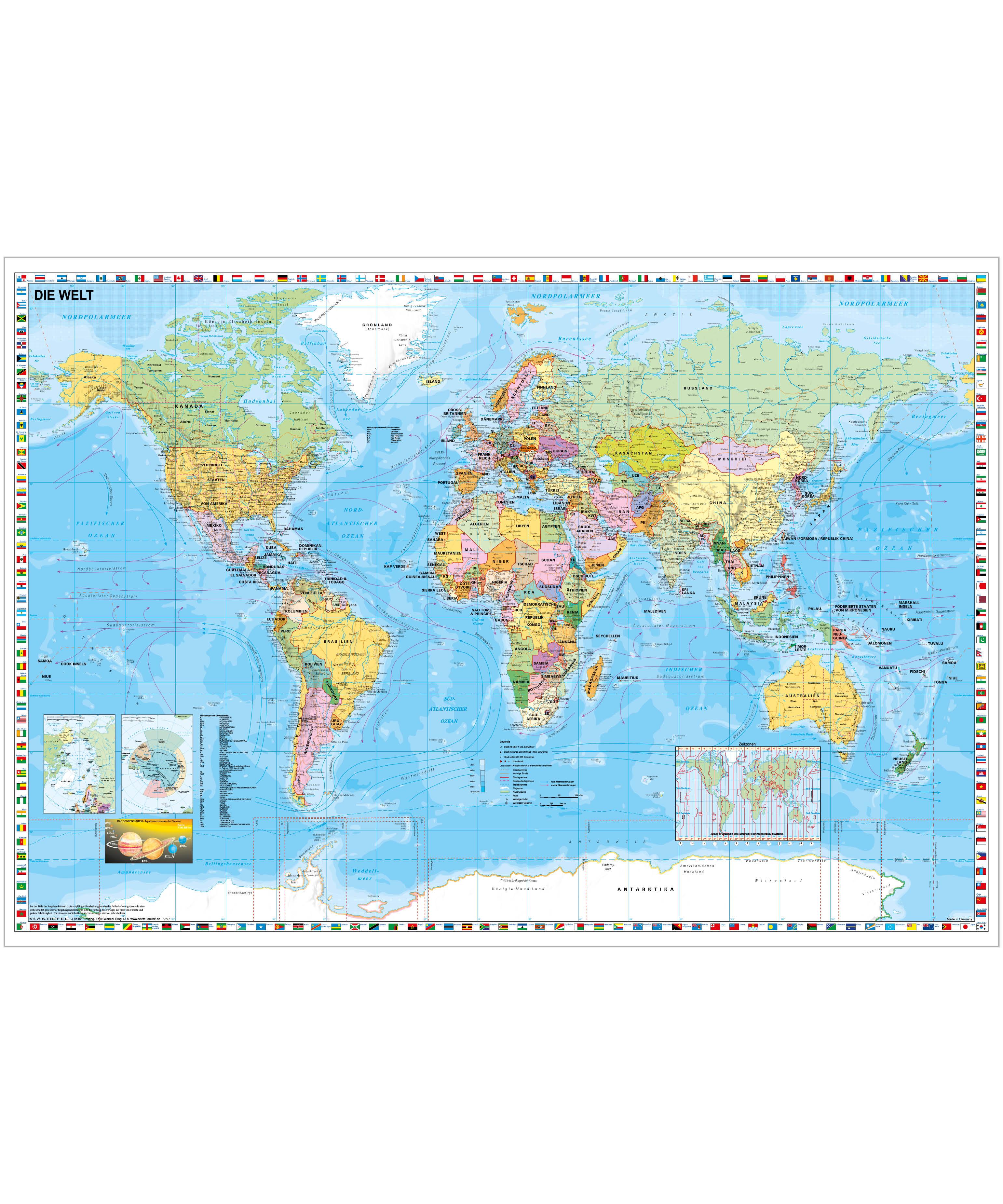 Weltkarte Politisch Mit Flaggen Stiefel