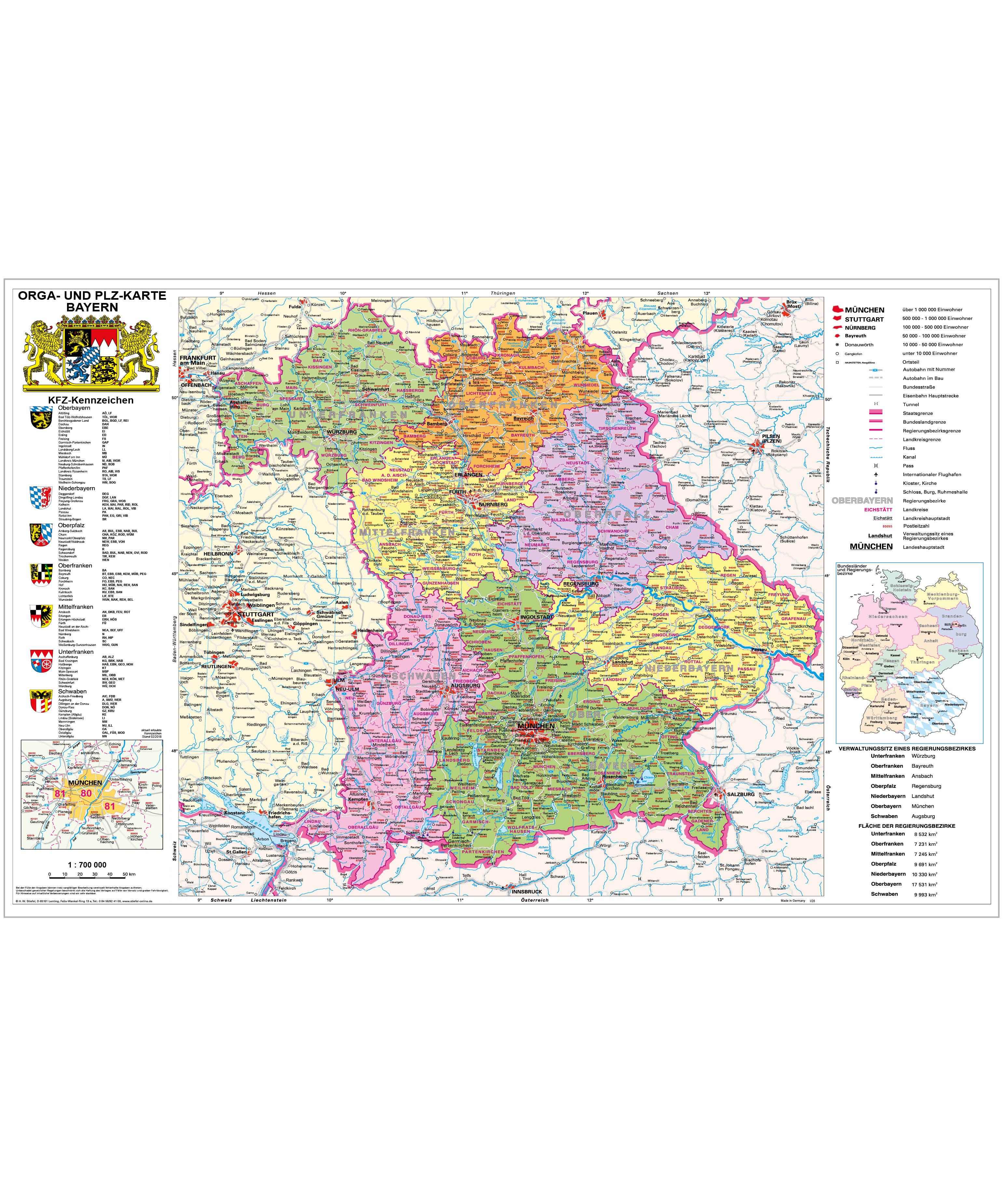 Organisationskarte Bayern Mit Plz Stiefel