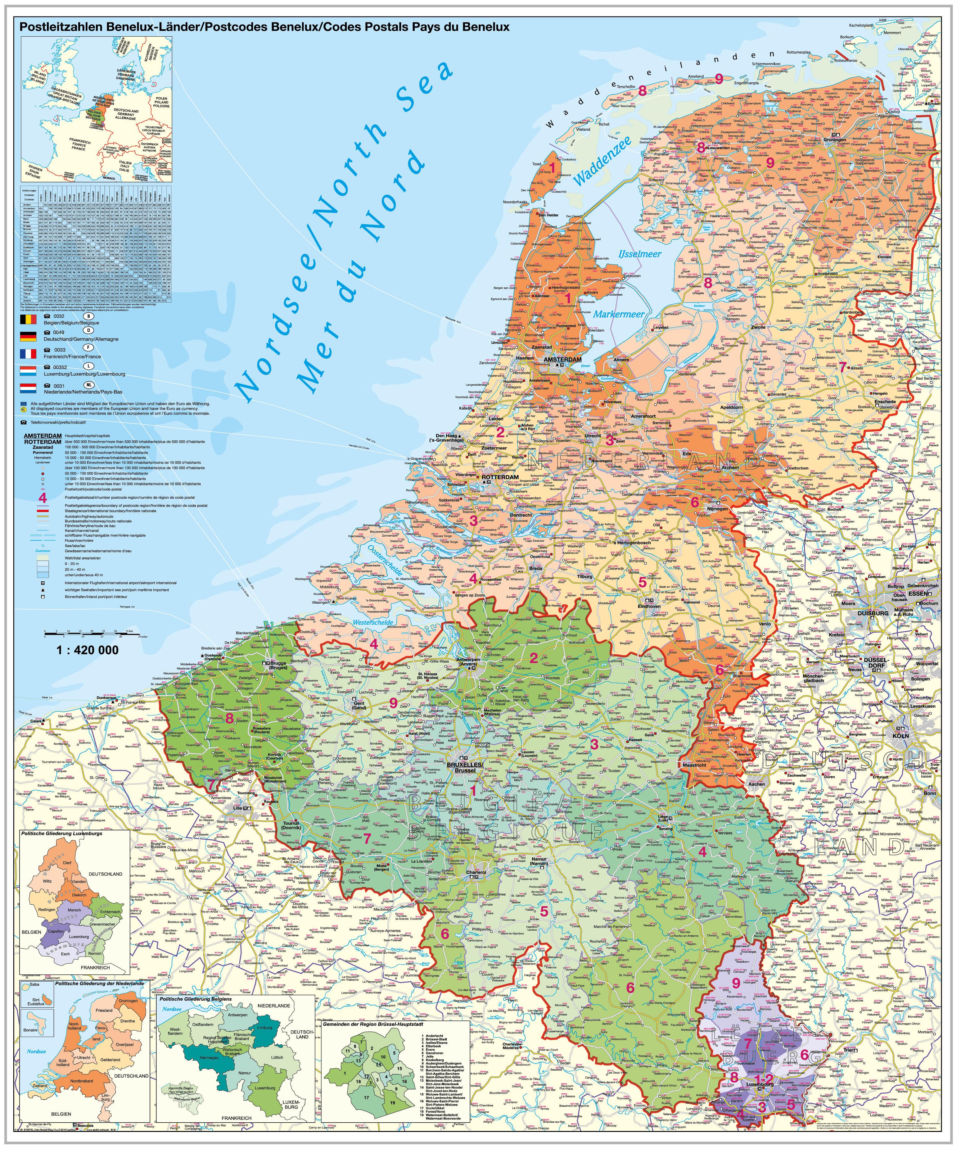 Plz Karte.Postleitzahlenkarte Benelux