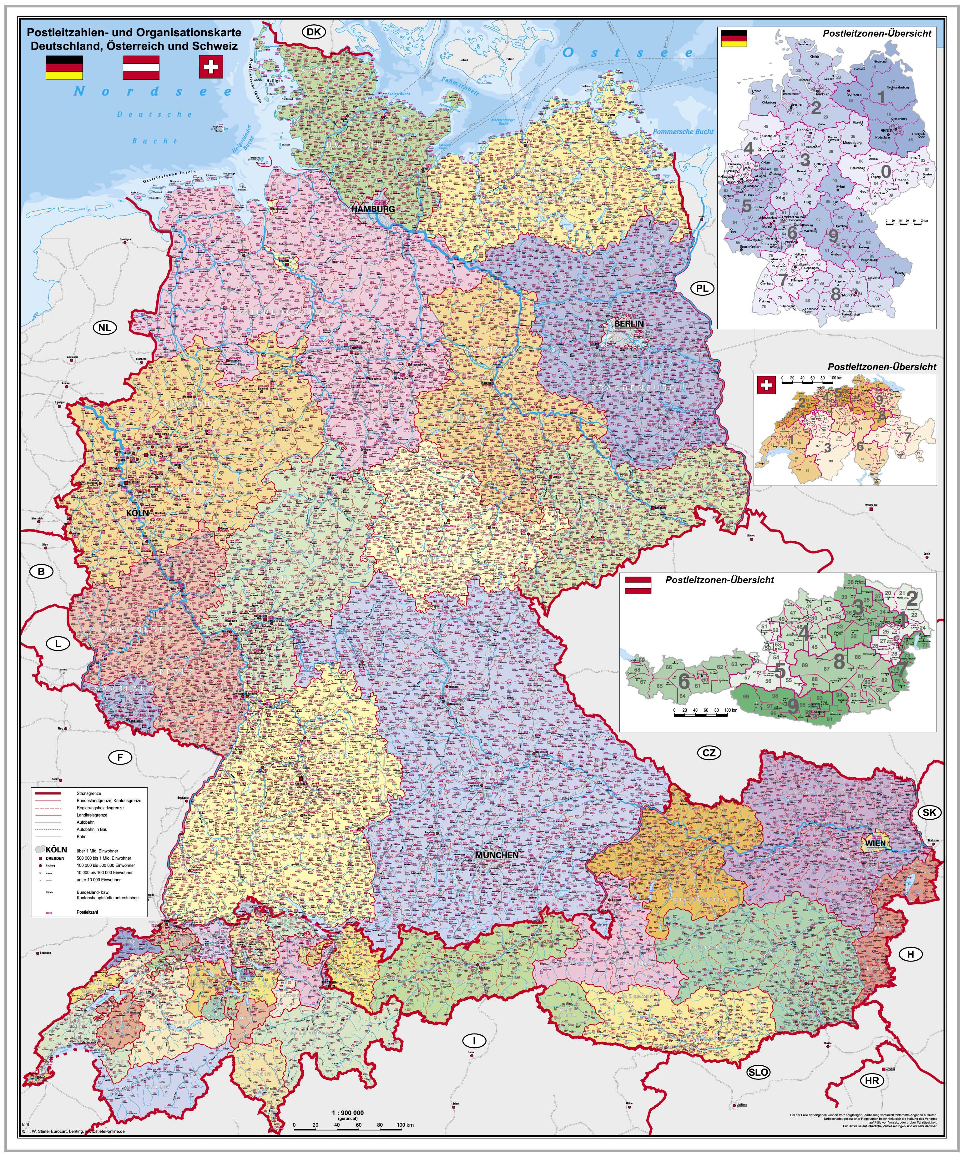 Postleitzahlen Und Organisationskarte Deutschland Osterreich